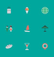 set of simple holiday icons elements pair parasol vector image vector image