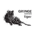 silhouette tiger in grunge design style animal vector image