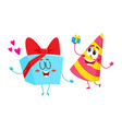 smiling birthday party characters - striped hat vector image vector image