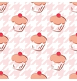 Tile background with cherry cupcake on houndstooth vector image vector image