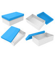 white box with blue lid set gift boxes vector image