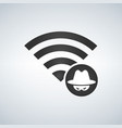 wifi connection signal icon with hacker attack vector image vector image