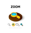 Zoom icon in different style vector image vector image