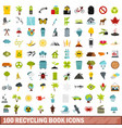 100 recycling book icons set flat style vector image vector image