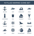 16 marine icons vector image vector image