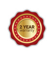 2 years warranty badge golden label icon isolated vector image vector image