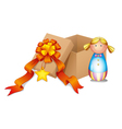 A baby doll with a box vector image vector image
