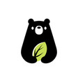 bear leaf natural negative space logo icon vector image