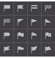 black flag icons set vector image vector image