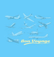 bon voyage set of aircraft air transport vector image