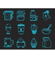 Breakfast blue icons collection vector image