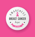 breast cancer awareness banner over pink vector image