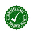 business class scratched stamp with tick vector image vector image