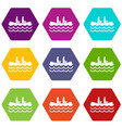 canoeing icon set color hexahedron vector image vector image