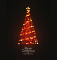 christmas tree glowing garland bokeh silhouette vector image