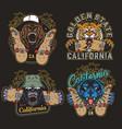 colorful skateboarding vintage logos vector image vector image