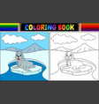 coloring book with walrus cartoon vector image vector image