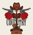 country music emblem with hat pistols roses vector image vector image