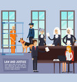 courtroom orthogonal flat composition vector image vector image