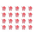 discount labels and sale tags in shopping cart vector image vector image