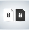 document lock icon cyber data security sheet of vector image