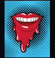 female mouth dripping pop art style vector image