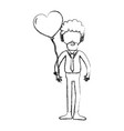 figure man with beard and heart balloon in the vector image vector image