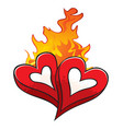 fire of love over hot beloved hearts isolated on w vector image