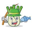 fishing fennel mascot cartoon style vector image vector image