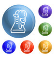 flask reaction icons set vector image vector image