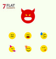 flat icon face set of pouting displeased vector image vector image