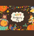frame of thanksgiving day with cute animals and vector image vector image
