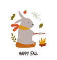 funny rabbit with marshmallow sitting on a log vector image vector image