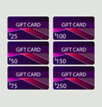 gift card set material design style with vector image vector image