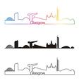Glasgow skyline linear style with rainbow vector image vector image