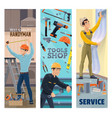 handyman plumber painter or decorator with tools vector image vector image