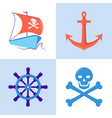 marine collection of pirate and nautical icons vector image