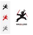 ninja warrior logo design template silhouette of vector image vector image