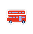 paper sticker British double-decker bus on white vector image vector image