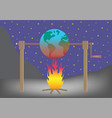 planet earth roasting over fire global warming vector image