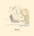 receiving big payment woman winning digital vector image