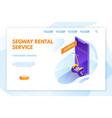 segway rental service landing page layout vector image vector image