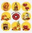 set ripe pumpkins wreath dried flowers owl vector image vector image
