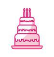 shadow cute birthday cake cartoon vector image vector image