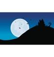 Silhouette of castle in hills Halloween vector image vector image