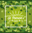 st patrick emblem inside frame with clovers design vector image