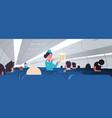stewardess explaining for passengers instructions vector image vector image