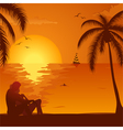 Summer Sunset with Couple vector image vector image