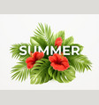 tropical summer background tropical palm leaves vector image vector image
