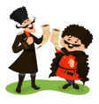 two cossacks with wine horns vector image
